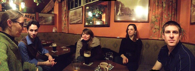 I wanted to get in the photo, too, so we all had to be very still while I took a panorama.  (Shannon Chance, Alexander MacDonald, Nora, Amanda Bernhard, and Jonathan Kennedy at Hughes Pub last night.)