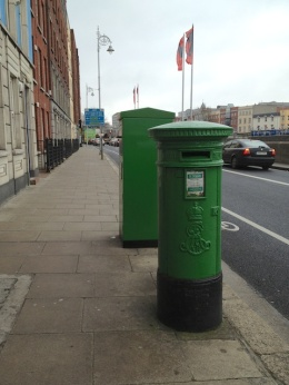 "I've been meaning for so long to show you the mail boxes here. You've got old and new styles beside one another here on Arran Quay (pronounced ""key"")."