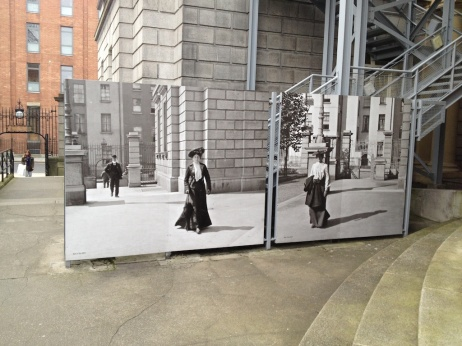 Photos outside the National Library show the exact same scene a century ago.