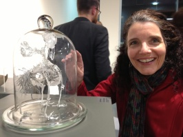 Enjoying a glass birdcage with Pam at NCAD.