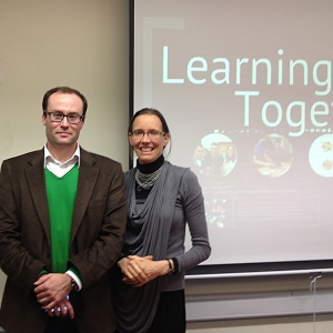 Director of Arcadia University's program in Ireland, Tom Kelly, alongside Shannon Chance following her presentation.