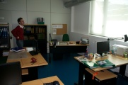 Faculty offices -- they clearly work together, too, based on the arrangement of desks!