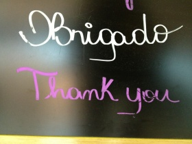 "...and finally discovered the spelling of ""thank you"" in Portuguese."