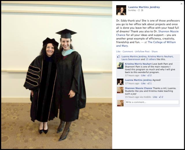 Luanna's very sweet Facebook post.