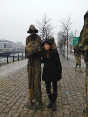 Shannon with a famine figure.