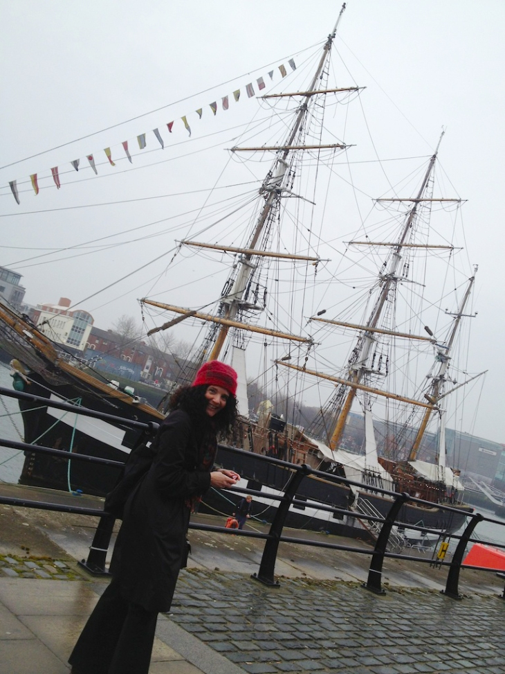 Pam Eddy at the Jeannie Johnson tall ship.
