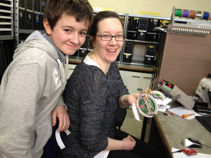 Emma and Ryan with a their working robot.