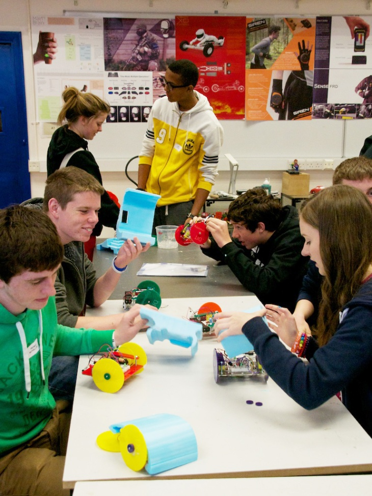 These students were obviously having a great time building robots!