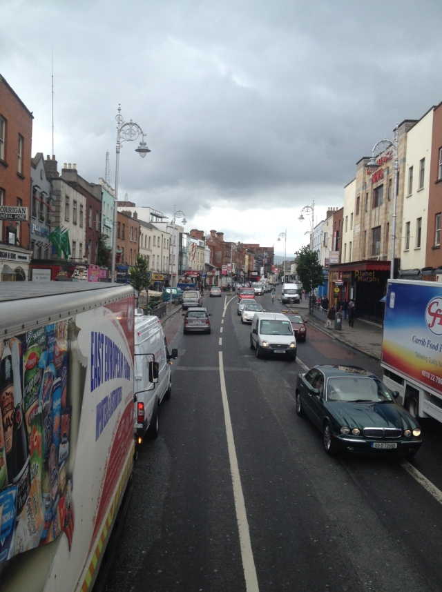 This photo, taken from my seat atop a double-decker bus, offers a glimpse of Dublin city traffic... and hints as to why I don't bike here more often!