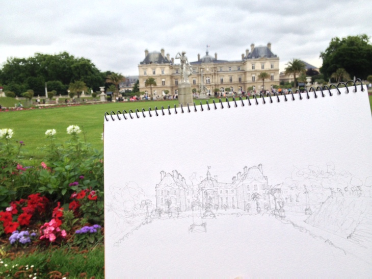Sketching in Luxembourg Gardens