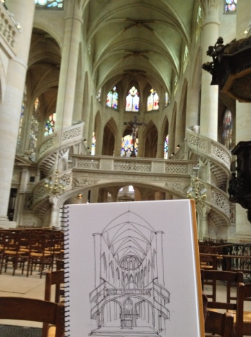 Sketching in St. Etinnene du Mont church