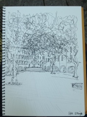 My sketch of the market square, after the market finished.