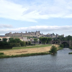 Down the hill and across the river... sits the new portion of Carcassone...
