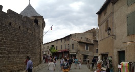 A courtyard of Carcassone....
