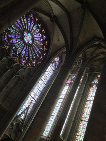 ...with lacy stained glass windows...