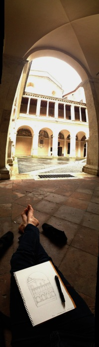 I made my last sketch in Rome, for this trip, under the shelter of Bramante's cloister.