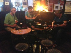 Some of the Mulligans who played music at the Cobblestone last night.