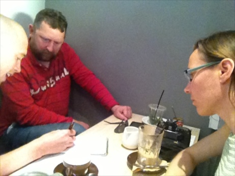 Ted, Damon and I met to map out plans for a RoboSlam workshop for facilitators.