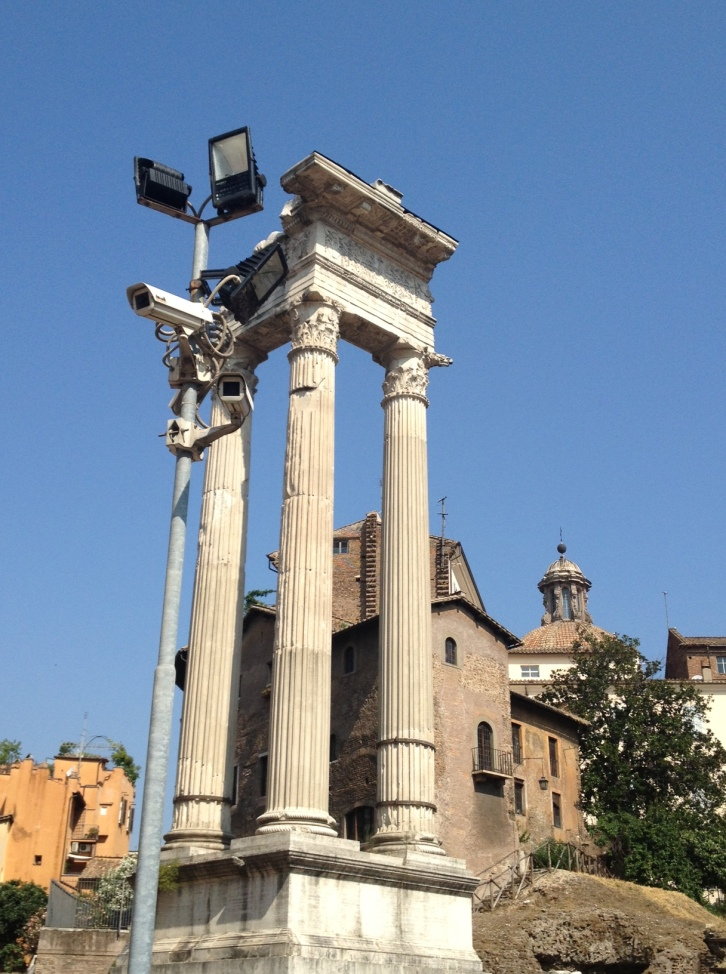 under the towers surrounding Teatro Marcello.