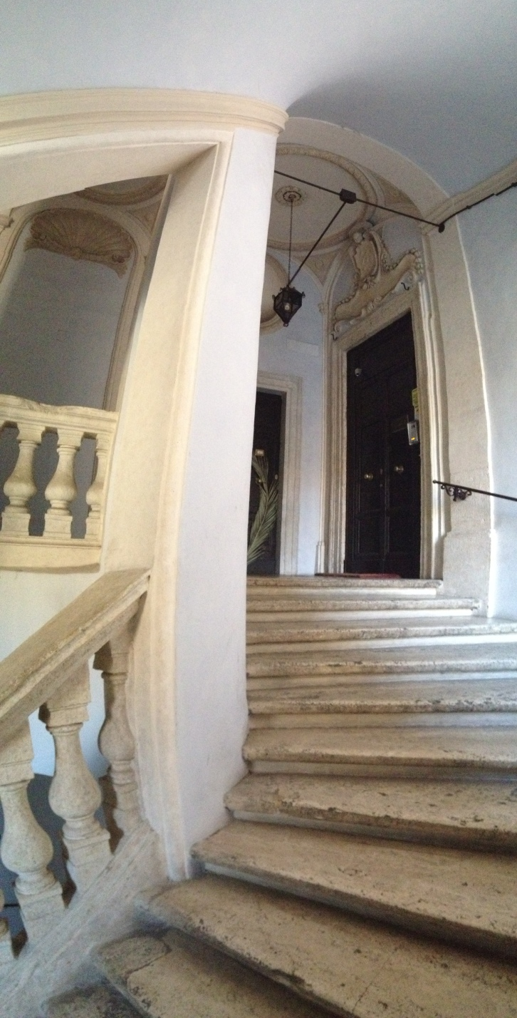 The entry stair at Iowa State's Rome center, where Daisy's studio and drawing courses are held.