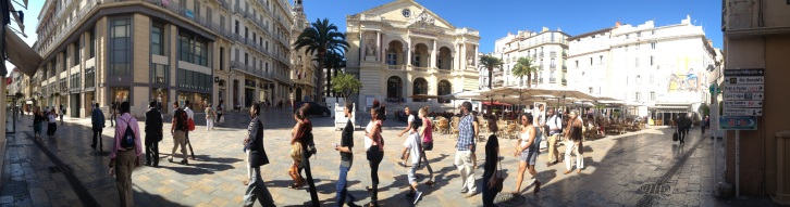 This year's HU students in the plaza in front of the opera house, on the way to an event.