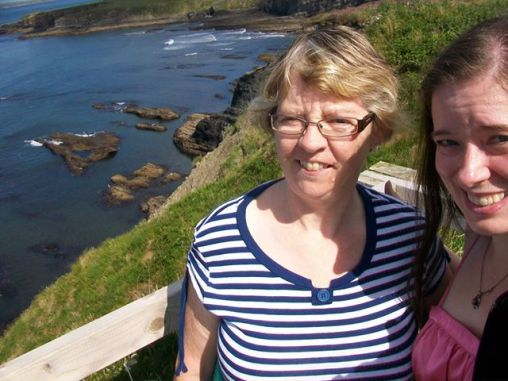 Heather and Eilish on the Bromore Cliffs, County Kerry.