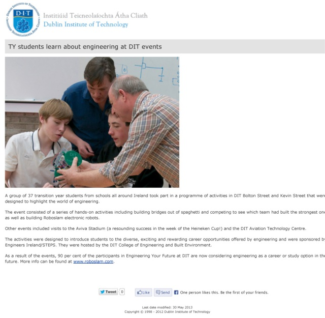 DIT Dublin Institute of Technology - TY-students-learn-about-eng
