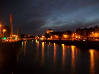 Heather's night view of the River Liffey.