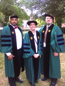 The William and Mary contingent in full regalia before the 2013 HU Convocation ceremony: Drs. Kianga Thomas, Shannon Chance, and Andrij Horodysky all graduated from W&M.  (Dr. Ralph Charleton was present, too, but sporting a regular black robe.)