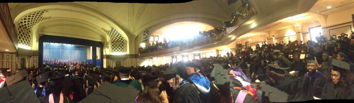 ...teeming with students, family, friends, and colleagues.