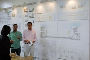 Mark Matel (right) with fellow student Leon Peters presenting a second year design project at Hamtpon University.