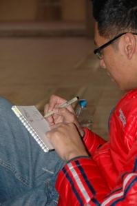 Mark sketching in Prague.