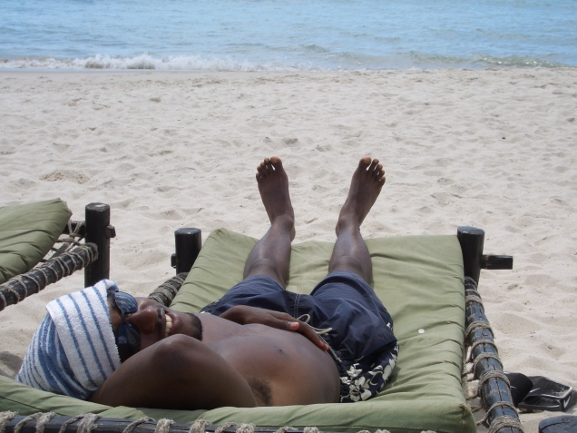 Donald chilling at Dar es Salaam's Sunset Beach the day after the program ended.