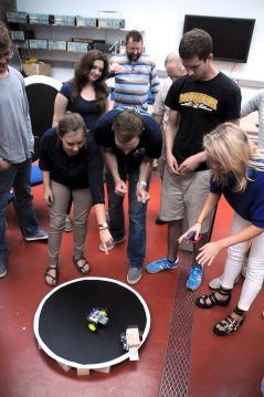 University of Missouri students and their dueling robots.