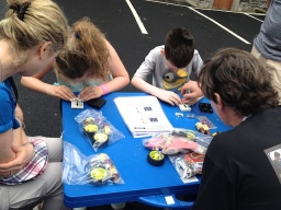 ...and taught a number of fair-goers how to build their own robots. One 6 year old girl built a robot start to finish!