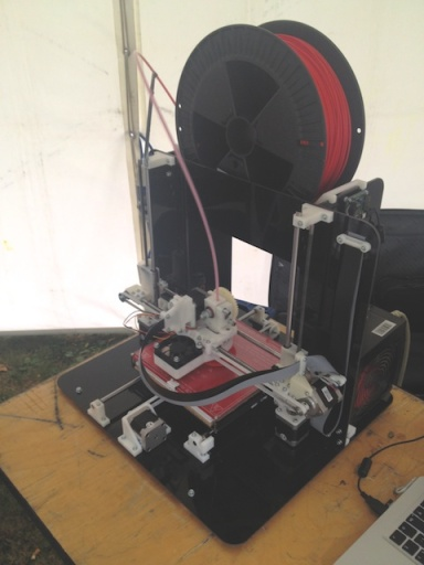David Hunt uses laser cutters and this 3-D printer to make parts...