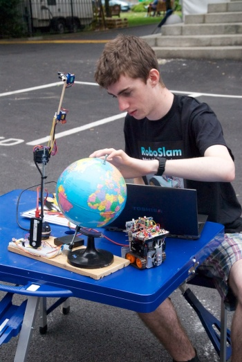DIT student Shane Ormonde invented a robot just for the event.
