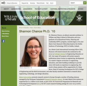 WM SOE almuni page https://education.wm.edu/news/alumninews/chance-2014.php