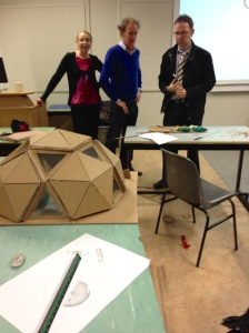 "Lecturers Fionnuala Farrell, John Nolan, and Michael O'Flaherty surveying results of ""the build."""