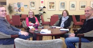 Meeting with John McGrory, Fionnuala Farrell, Una Beagon, and Ted Burke to discuss teaching design.