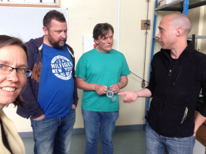 Shannon, Damon, Frank, and Ted getting ready today for the RoboSlam Cafe.