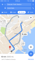 It's a very short walk from the Cascais train station to the beachfront cafe where we met.