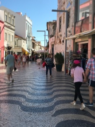A pedestrain shoping street along that walk.