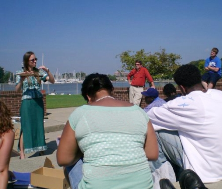 Teaching architecture students about sun angles at Hampton University, circa 2007.