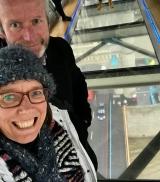 Defying gravity at Tower Bridge.