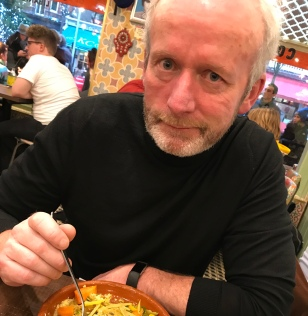 My strikingly handsome partner, Aongus Coughlan, enjoying a chicken and green olive tagine on Exhibition Road near the V&A