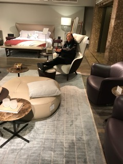 Shannon in lounge chair at Harrods 2
